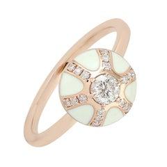 White Enamel Diamond 18 Karat Gold Ring
