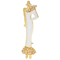 White Enamel Diamond Yellow Gold Diva Brooch Pendant