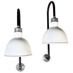 White Enamel Industrial Wall Sconces, circa 1940