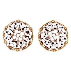 White Enamel Ornate Earrings With Milk Glass Rhinestones, 1950s