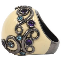 White Enamel Round Silver Ring with Amethyst and Blue Topaz