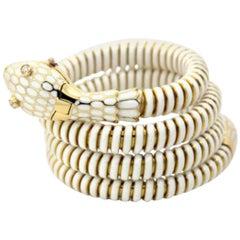 White Enamel Snake Cuff Bracelet or Watch