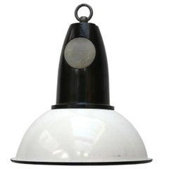 White Enamel Vintage Industrial Bakelite Top Pendants