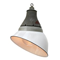 White Enamel Vintage Industrial Cast Aluminum Holophane Glass Pendant Lamp