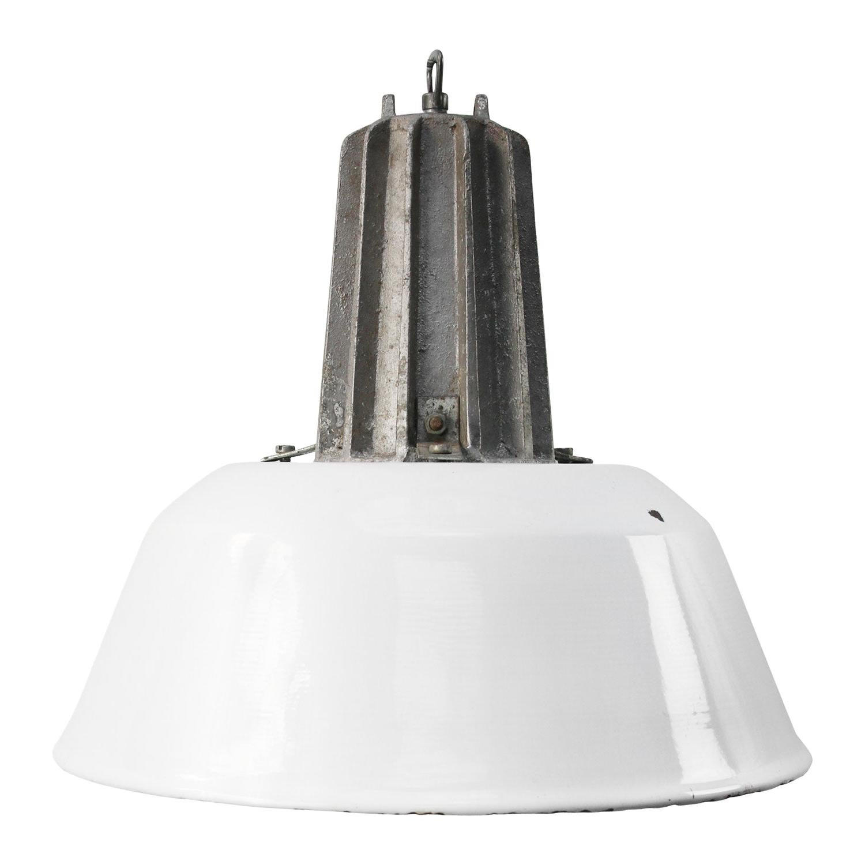 White Enamel Vintage Industrial Cast Aluminum Pendant Lamp