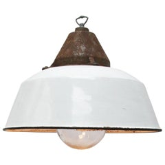 White Enamel Vintage Industrial Cast Iron Clear Glass Factory Pendant Lights