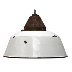 White Enamel Vintage Industrial Cast Iron Factory Pendant Lights (20x)
