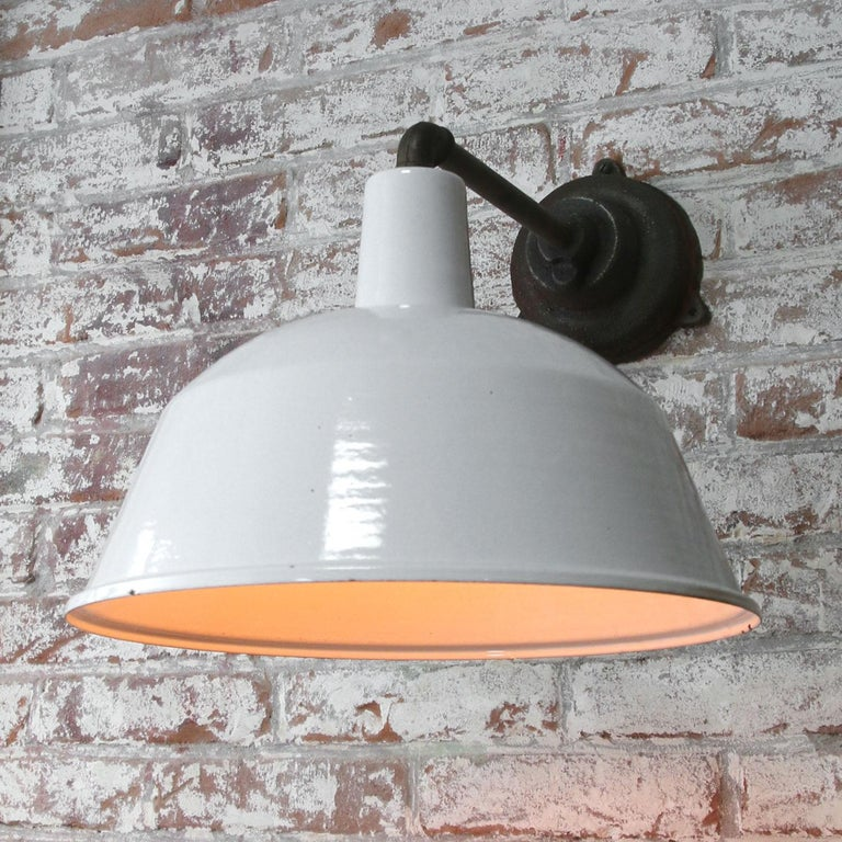 Factory wall light White enamel, white interior  Weight: 3.1 kg / 6.8 lb  Priced per individual item. All lamps have been made suitable by international standards for incandescent light bulbs, energy-efficient and LED bulbs. E26/E27 bulb