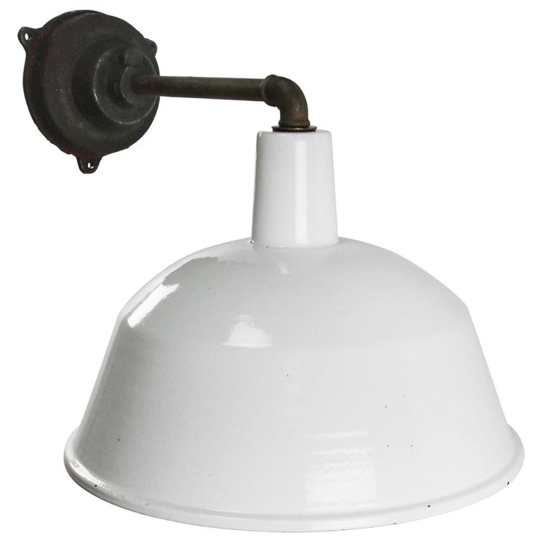 Hungarian White Enamel Vintage Industrial Cast Iron Factory Scones Wall Lights For Sale