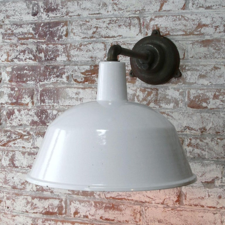 White Enamel Vintage Industrial Cast Iron Factory Scones Wall Lights For Sale 2