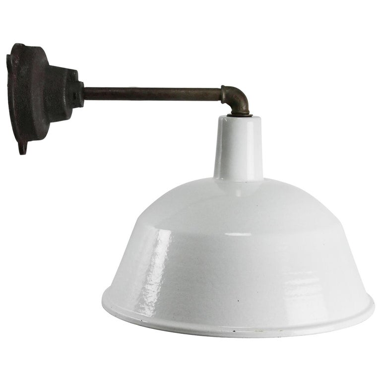 White Enamel Vintage Industrial Cast Iron Factory Scones Wall Lights For Sale