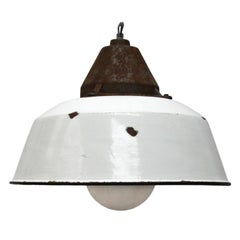 White Enamel Vintage Industrial Cast Iron Frosted Glass Pendant Lights (8x)