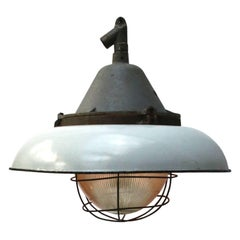 White Enamel Vintage Industrial Cast Iron Holophane Glass Pendant lamp