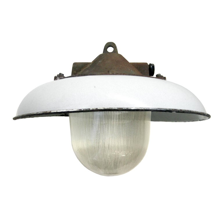 Industrial factory pendant. White enamel shade.