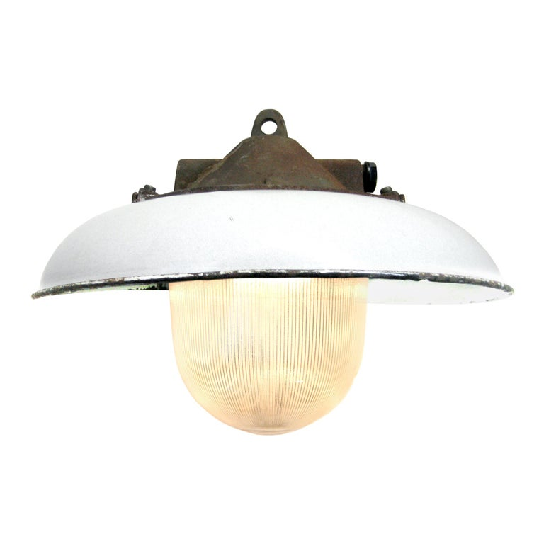White Enamel Vintage Industrial Cast Iron Holophane Glass Pendant Lights For Sale