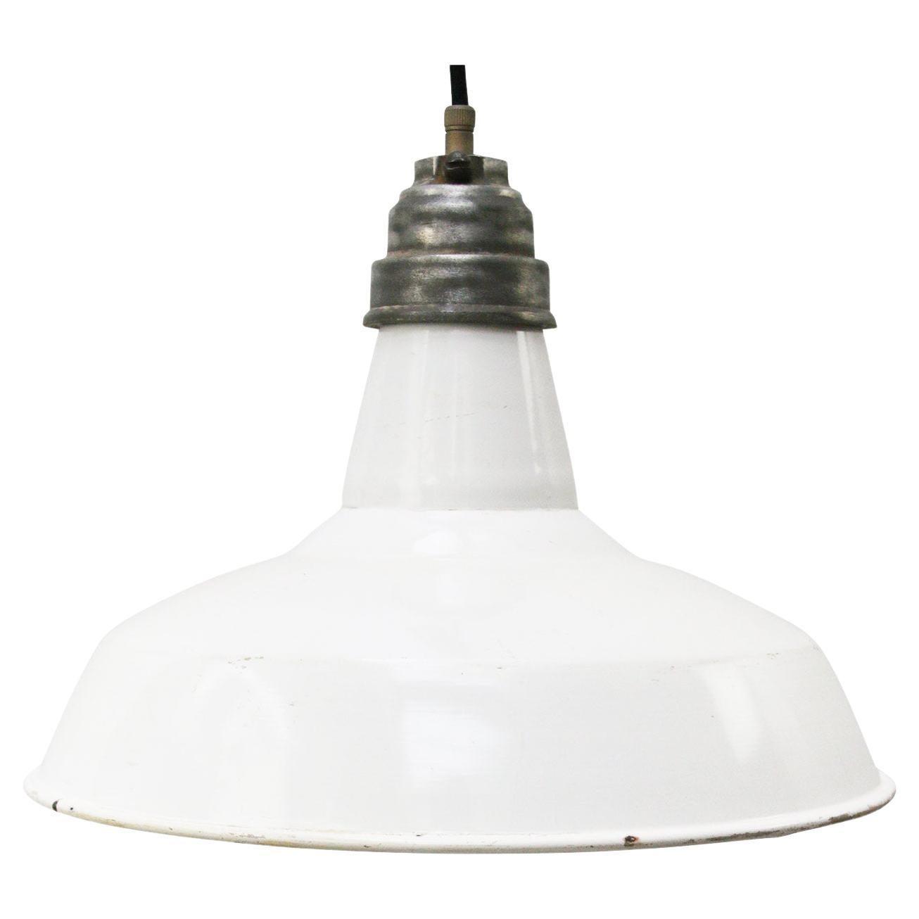 White Enamel Vintage Industrial Factory Pendant Lights by Benjamin USA