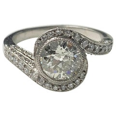 White European Cut Diamond Engagement Ring in Platinum
