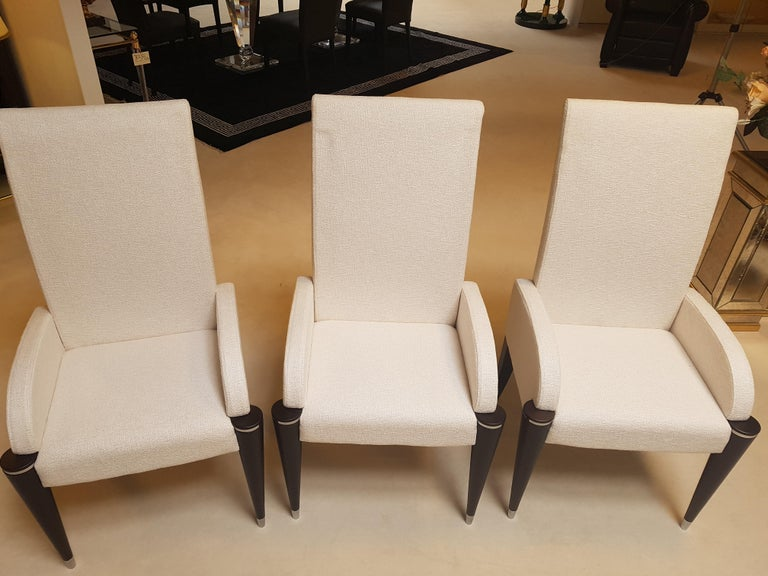 white fabric dining room chairs | White Fabric Dining Chairs with Black Fluted Legs For Sale ...