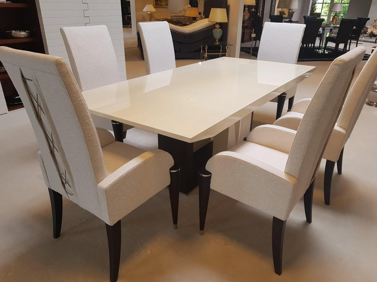 White Fabric Dining Chairs With Black Fluted Legs For Sale