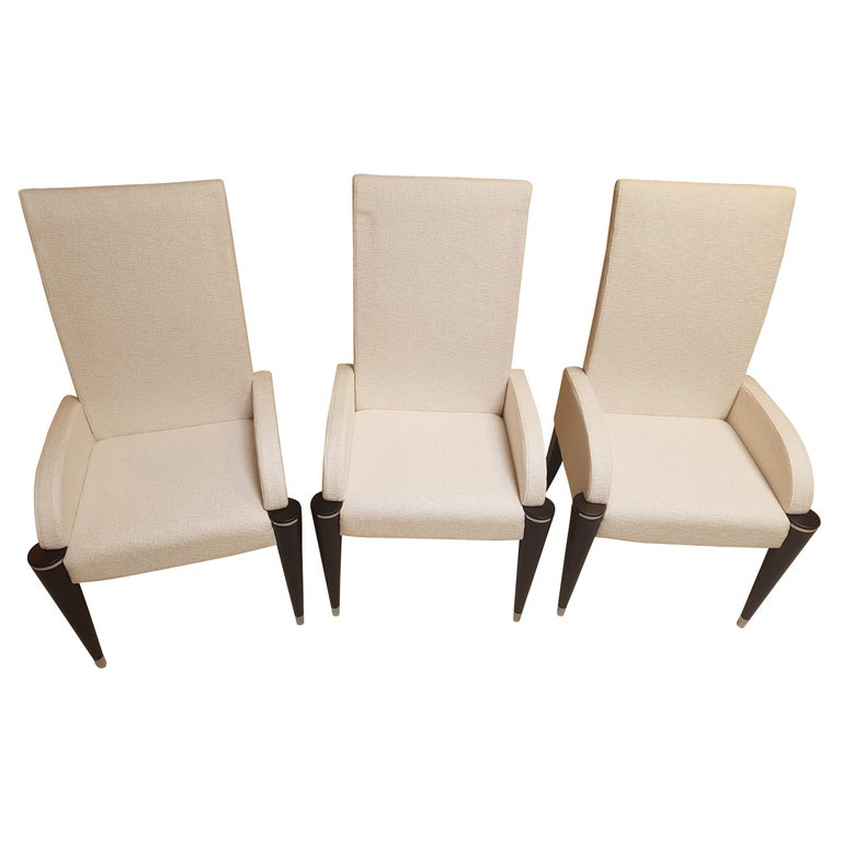 White Fabric Dining Room Chairs: White Fabric Dining Chairs With Black Fluted Legs For Sale