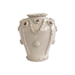 White Faience Malicorne Earthenware Vase