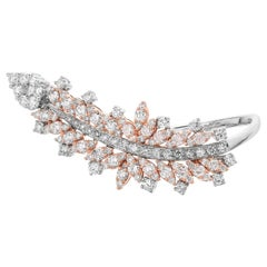 White and Fancy Color Natural Pink Diamond Statement Ring by Designer Yessayan