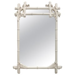 White Faux Bamboo Mirror by Gampel-Stoll
