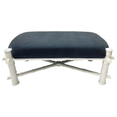 White Faux Bamboo Wood Upholstered Bench