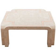 White Faux Marble Geometric Square Coffee Table Italy, 1980s