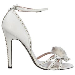 White Fendi Leather Fur-Embellished Sandals