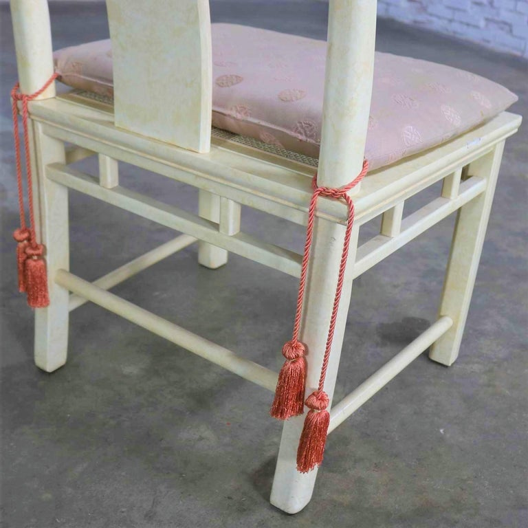 White Fine Furniture Asian Ming Chinoiserie Style off White Lacquer Dining Chair For Sale 6