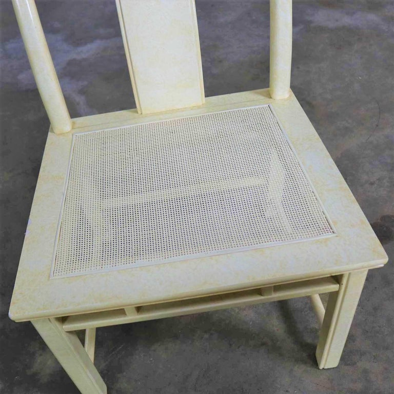 White Fine Furniture Asian Ming Chinoiserie Style off White Lacquer Dining Chair For Sale 8