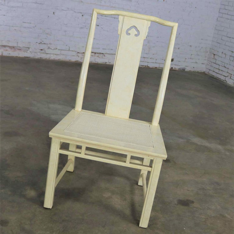White Fine Furniture Asian Ming Chinoiserie Style off White Lacquer Dining Chair For Sale 9