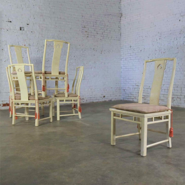 Late 20th Century White Fine Furniture Asian Ming Chinoiserie Style off White Lacquer Dining Chair For Sale