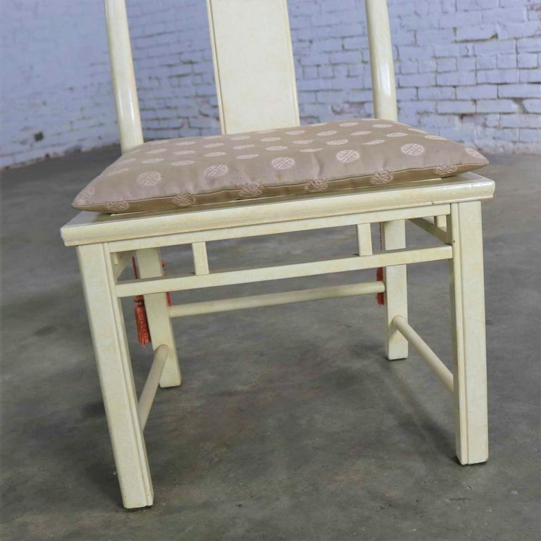 Wood White Fine Furniture Asian Ming Chinoiserie Style off White Lacquer Dining Chair For Sale