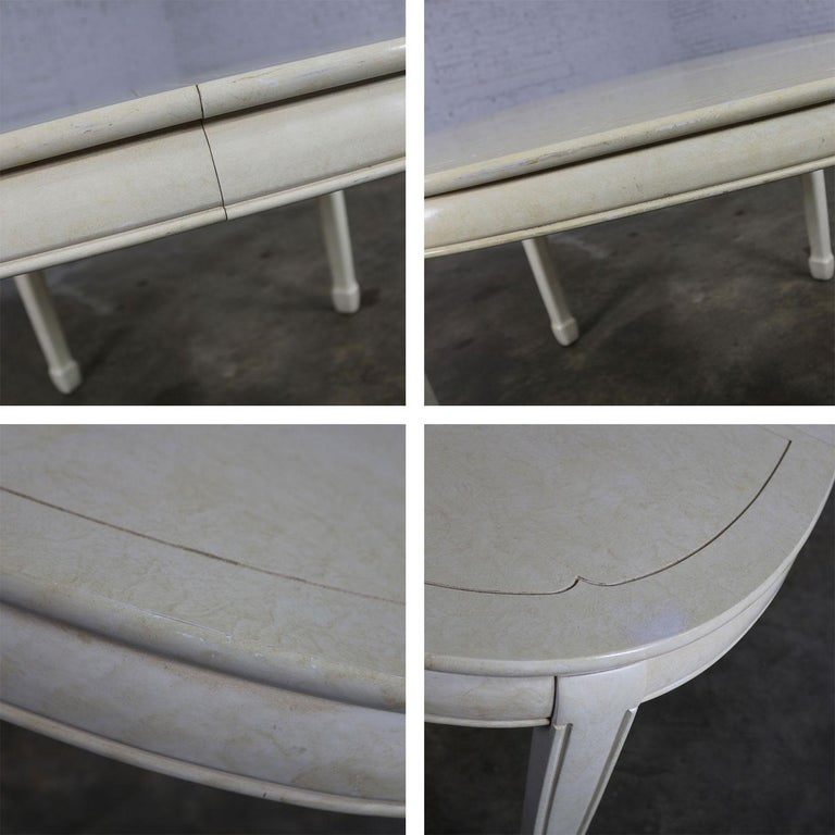 White Fine Furniture Asian Ming Chinoiserie Style off White Lacquer Oval Dining For Sale 4