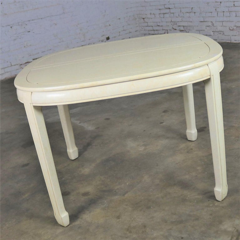 American White Fine Furniture Asian Ming Chinoiserie Style off White Lacquer Oval Dining For Sale