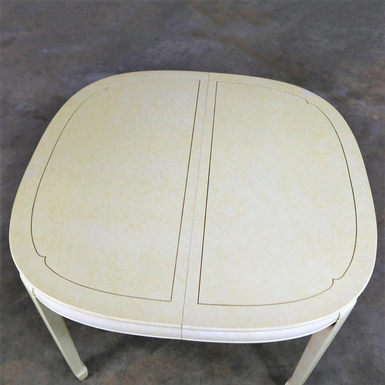 Wood White Fine Furniture Asian Ming Chinoiserie Style off White Lacquer Oval Dining For Sale