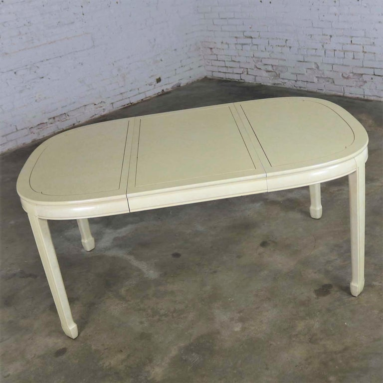 White Fine Furniture Asian Ming Chinoiserie Style off White Lacquer Oval Dining For Sale 1