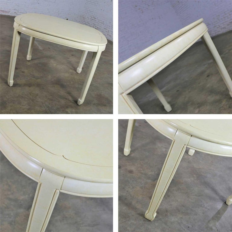 White Fine Furniture Asian Ming Chinoiserie Style off White Lacquer Oval Dining For Sale 3
