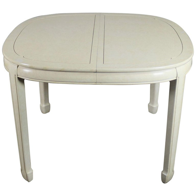 White Fine Furniture Asian Ming Chinoiserie Style off White Lacquer Oval Dining For Sale
