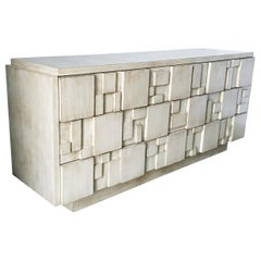 Brutalist White Finish 9-Drawer Dresser Credenza by Lane