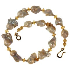 Gemjunky White Fireball Pearls Accented with Citrine and Gold Necklace