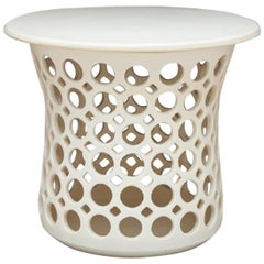 White Flared Pierced Ceramic Side Table with Ceramic Top
