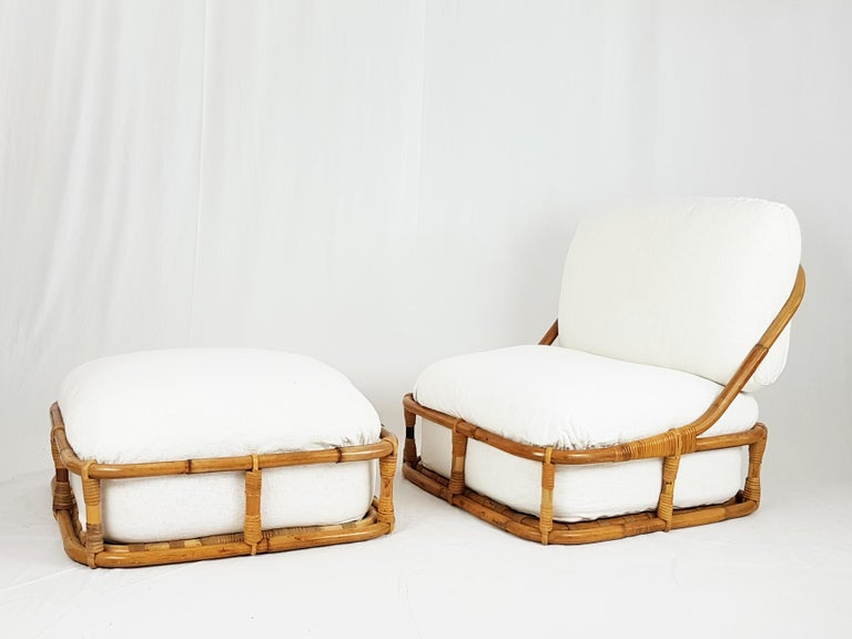 White Flax, Fabric and Rattan 1960s Cushioned Lounge Chair with Ottoman For Sale 4