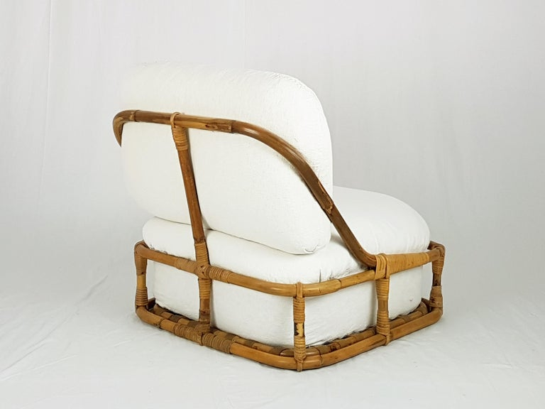 Space Age White Flax, Fabric and Rattan 1960s Cushioned Lounge Chair with Ottoman For Sale