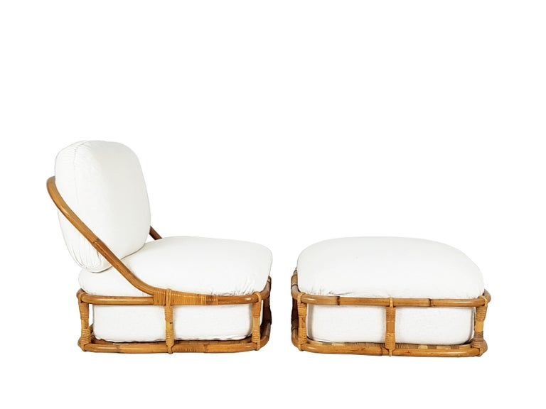 Mid-20th Century White Flax, Fabric and Rattan 1960s Cushioned Lounge Chair with Ottoman For Sale