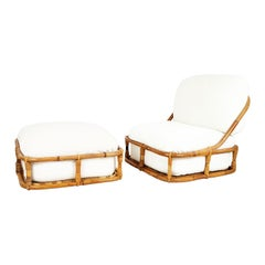 White Flax, Fabric and Rattan 1960s Cushioned Lounge Chair with Ottoman