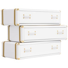 White Flight Case Shelf of 3 Drawers in White Lacquered Finish
