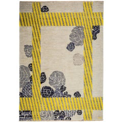 Cream Wool Rug Grey Flower & Yellow Lines by Cecilia Setterdahl for Carpets C